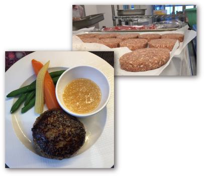 ●社員食堂用 和牛使用 牛肉100%使用冷凍PBハンバーグのPB開発  東京・渋谷にある「溶岩焼肉ダイニングレストランbonbori」の和牛使用 100J%ビーフハンバーグを社員食堂用にPBアレンジ。