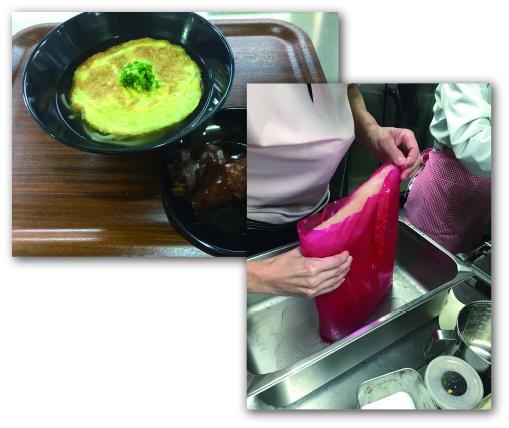●社員食堂用沖縄そば王の濃縮豚骨スープ  沖縄そば王「いしぐふー」のオリジナルスープをいしぐふー監修の基、社員食堂販売用に濃縮スープとして開発。日本で唯一本格的に豚骨や牛骨からスープを作ってくれる(一般的な食品加工メーカーは、エキスで作るため、濃厚さや旨みが出にくく、味もなかなか同じように作ることができない)提携製造工場と共同開発。  冷凍濃縮スープで製造するため、賞味期限は1年。濃縮タイプで水で伸ばすのでストックスペースが少なくて済むのがポイント。